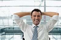 man enjoying a stress free work environment